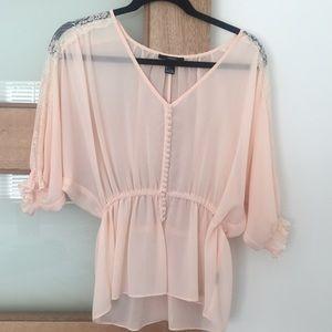 Forever 21 sheer light peach blouse.